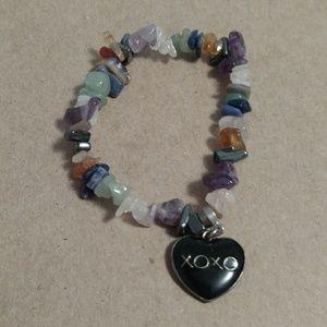 Stretchy rock xoxo charm bracelet